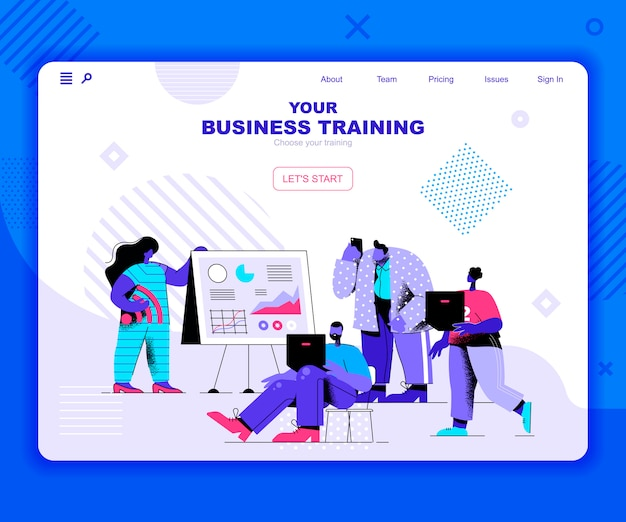 Modelo de página de destino de treinamento de negócios