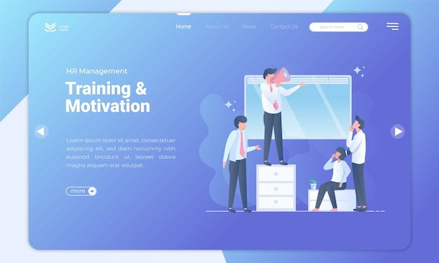 Modelo de página de destino de treinamento e motivação de recursos humanos