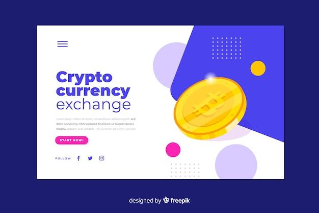 Modelo de página de destino de troca de criptomoeda