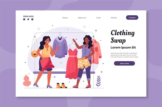 Modelo de página de destino de troca de roupas desenhadas à mão plana