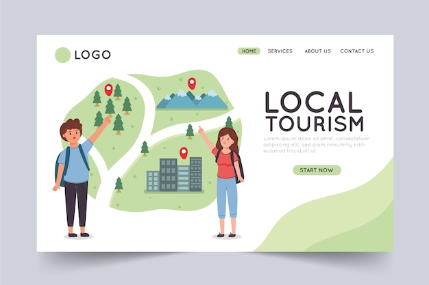 Modelo de página de destino de turismo local