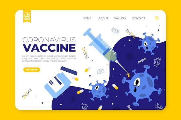 Modelo de página de destino de vacina de coronavírus desenhado à mão plana