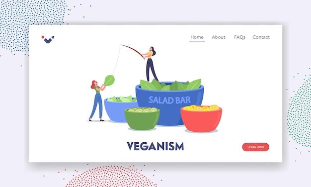 Modelo de página de destino de veganismo. personagens minúsculos ficam em uma tigela enorme com salada no bar vegetariano. pessoas comendo legumes e frutas no buffet vegan. nutrição saudável. ilustração em vetor de desenho animado