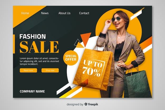 Modelo de página de destino de venda com foto