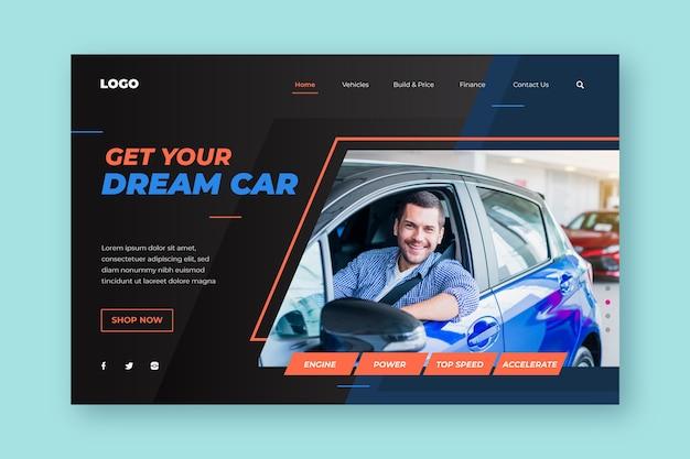 Modelo de página de destino de venda de carro
