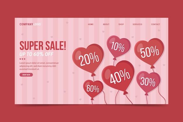 Modelo de página de destino de venda de dia dos namorados