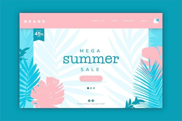 Modelo de página de destino de venda de fim de verão