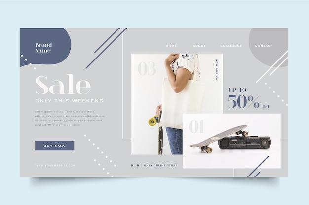 Modelo de página de destino de venda de moda com foto