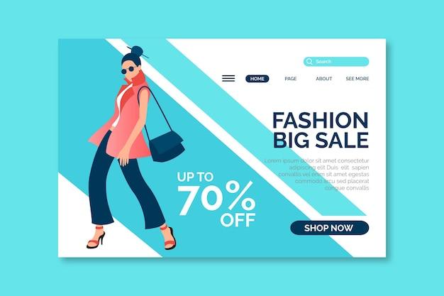 Modelo de página de destino de venda de moda com ilustração de mulher