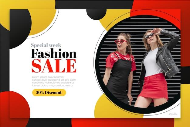 Modelo de página de destino de venda de moda