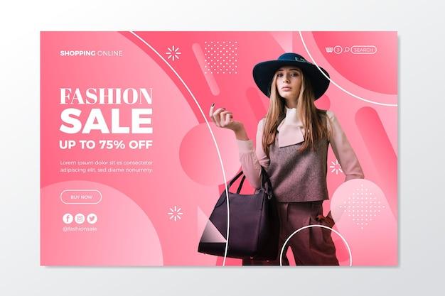 Modelo de página de destino de venda de modas