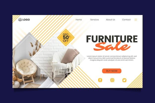 Modelo de página de destino de venda de móveis com foto