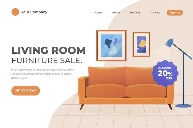 Modelo de página de destino de venda de móveis gradientes