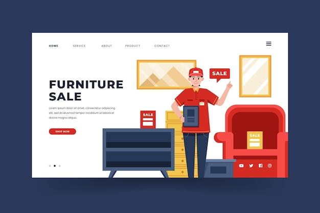 Modelo de página de destino de venda de móveis planos orgânicos