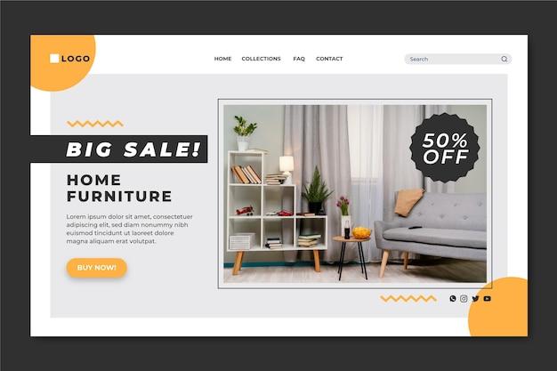Modelo de página de destino de venda de móveis planos
