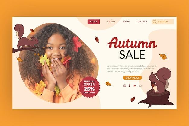 Modelo de página de destino de venda de outono desenhado à mão com foto