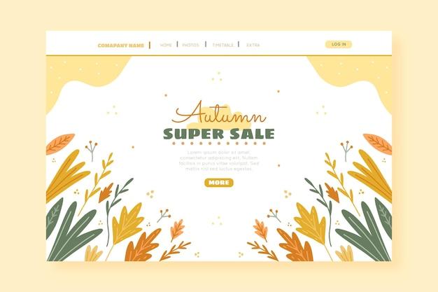 Modelo de página de destino de venda de outono desenhado à mão