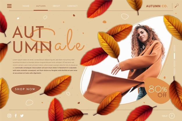 Modelo de página de destino de venda de outono detalhada com foto