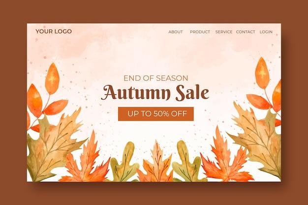 Modelo de página de destino de venda de outono em aquarela