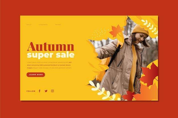 Modelo de página de destino de venda de outono gradiente com foto