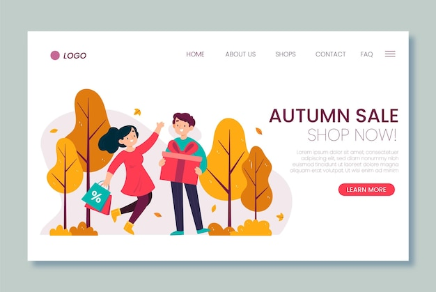 Modelo de página de destino de venda de outono