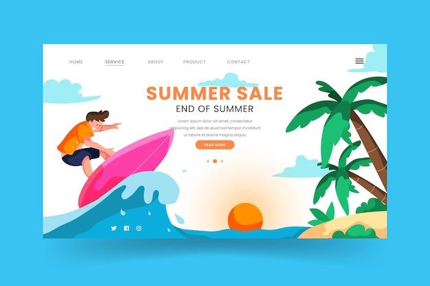 Modelo de página de destino de venda de verão no final da temporada