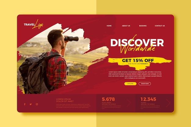 Modelo de página de destino de venda de viagens com foto