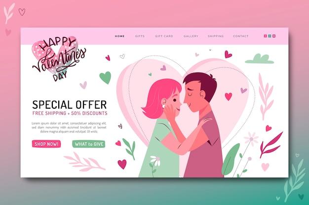 Modelo de página de destino de venda do dia dos namorados