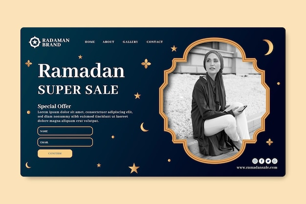 Modelo de página de destino de venda do ramadã