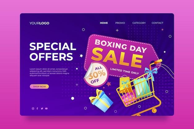 Modelo de página de destino de venda gradiente de boxing day