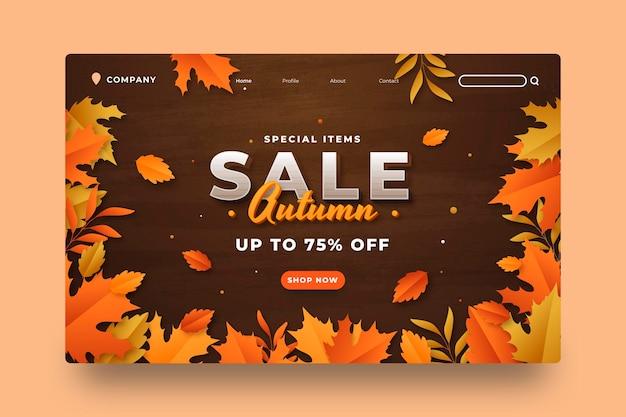 Modelo de página de destino de venda gradiente de outono