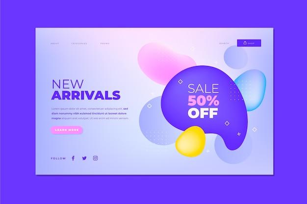 Modelo de página de destino de venda gradiente