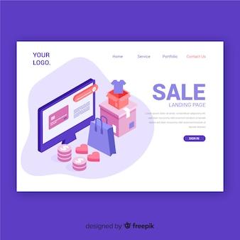 Modelo de página de destino de venda isométrica