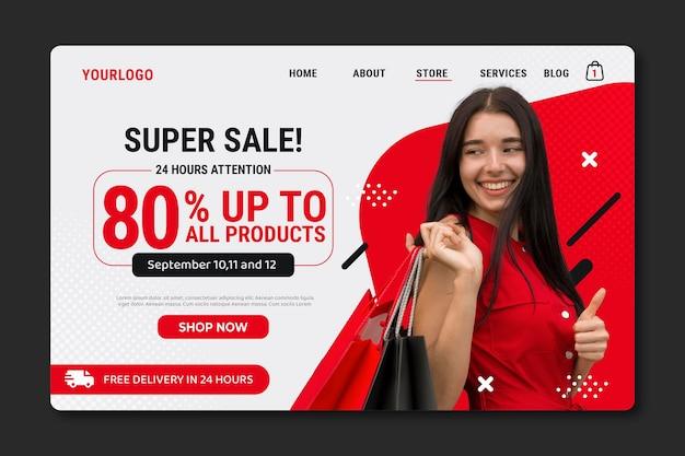 Modelo de página de destino de venda plana com foto