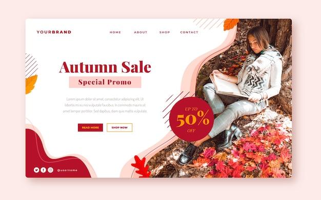 Modelo de página de destino de venda plana de outono com foto