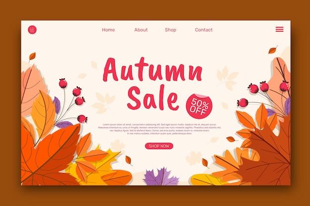 Modelo de página de destino de venda plana de outono