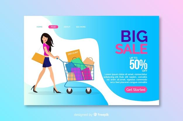 Modelo de página de destino de venda plana