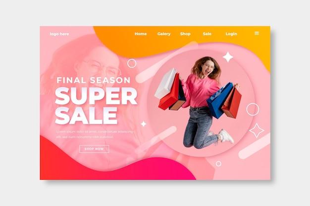 Modelo de página de destino de venda realista com foto