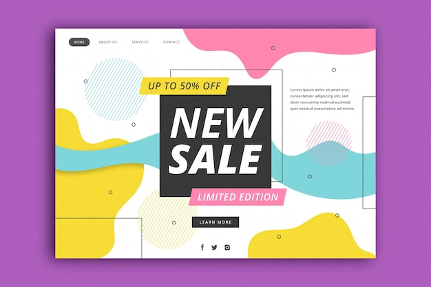 Modelo de página de destino de vendas abstrata