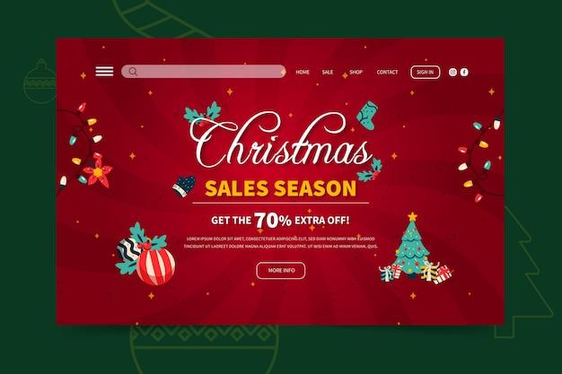 Modelo de página de destino de vendas de feliz natal