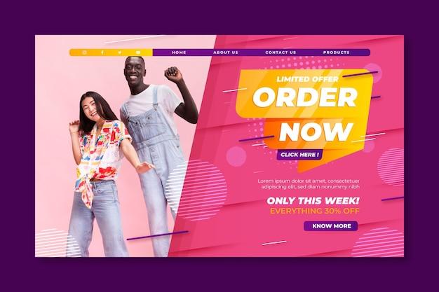 Modelo de página de destino de vendas e compras online