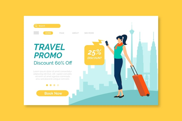 Modelo de página de destino de vendas em viagem ilustrado