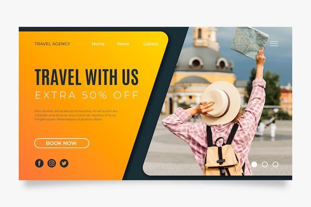 Modelo de página de destino de vendas em viagem