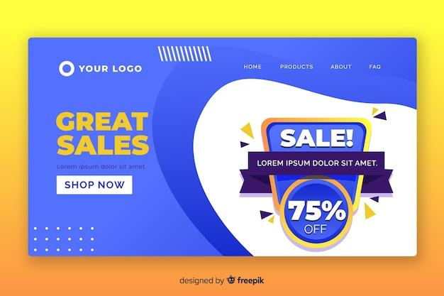 Modelo de página de destino de vendas simples