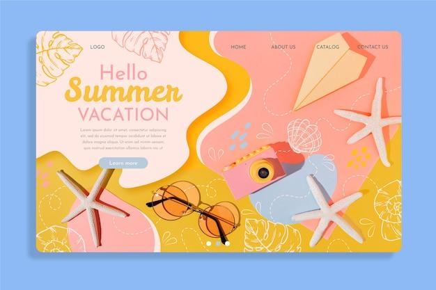 Modelo de página de destino de verão desenhado à mão com foto