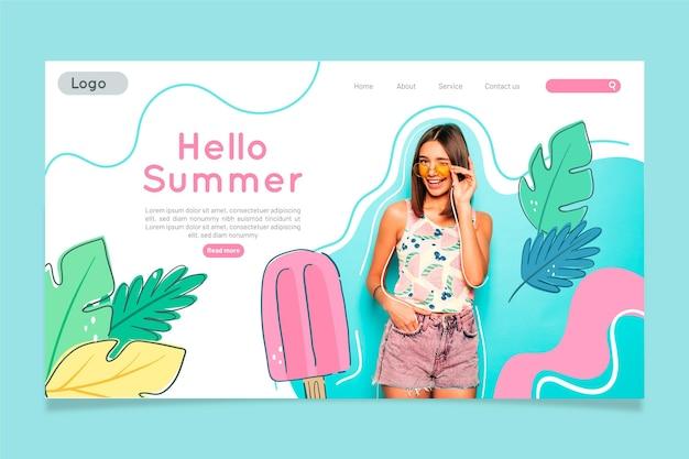 Modelo de página de destino de verão desenhado à mão