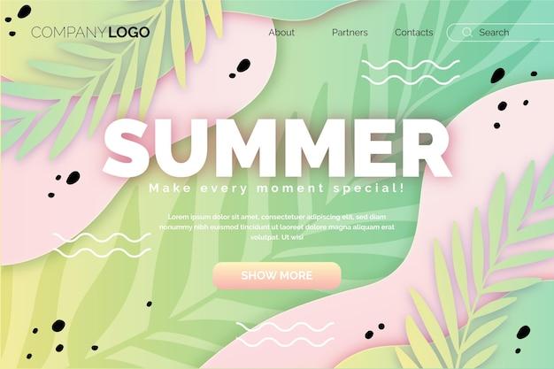 Modelo de página de destino de verão gradiente