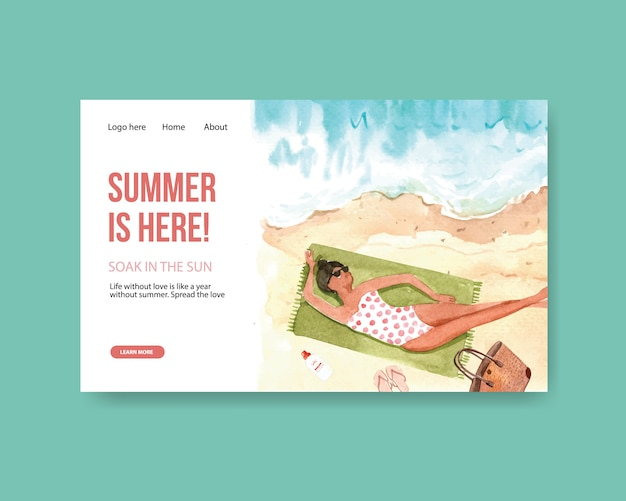 Modelo de página de destino de verão