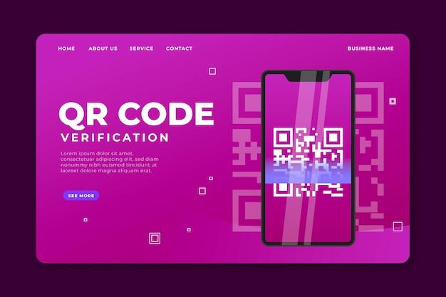 Modelo de página de destino de verificação de código qr