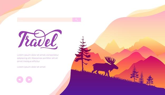 Modelo de página de destino de vetor de viagens. alce correndo em fundo minimalista de paisagem de montanha